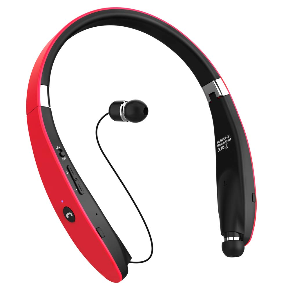 Bluetooth Headphones, Dostyle V4.1 Bluetooth Headset Wireless Stereo Neckband Foldable Sport Earbuds w Mic and Retractable Earbuds Compatible for All Cellphones Samsung Galaxy and Android Phones – Red
