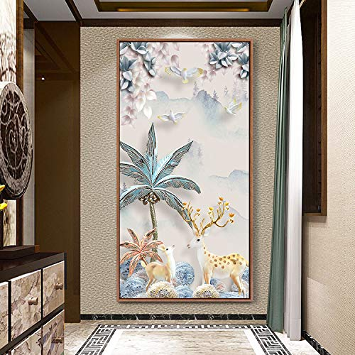 (GAOQQ Home Corridor/Porch Decorative Painting, Vertical Version of A Large Size Hanging Painting, Elk/Vase Lucky Wall Mural,P-100x50cm)