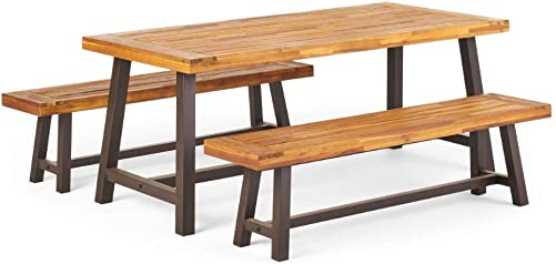 Christopher Knight Home 298403 Bowman Wood Outdoor Picnic Table Set
