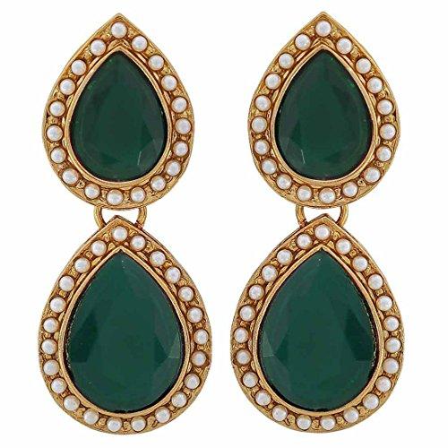 Maayra Wedding Festival Earrings Alloy Dangler Drop Green Twin Drop Pearls Jewellery by Maayra