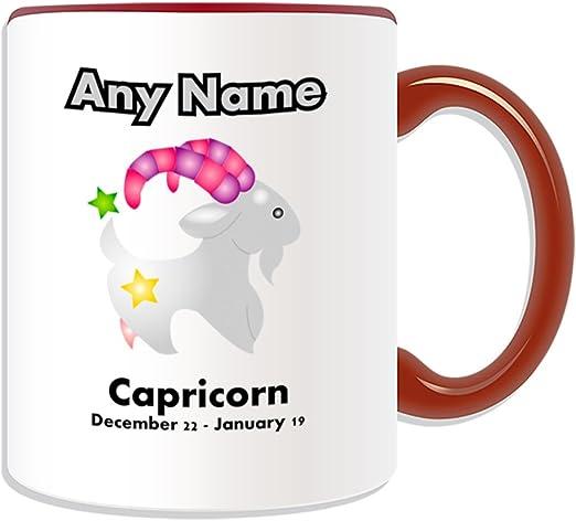 Regalo personaliseitonline - Capricornio taza (Diseño del zodiaco ...