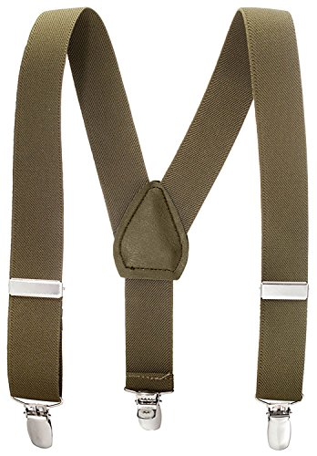 Suspenders for Kids - 1 Inch Suspender Perfect for Tuxedo - Olive Green (26