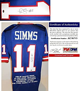 08e4f599c Phil Simms Signed - Autographed Custom Blue Jersey with Embroidered Stats  and GTSM - PSA/