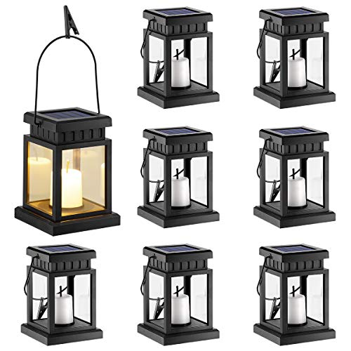 GIGALUMI 8 Pack Solar Hanging Lantern Outdoor, Candle Effect Light with Stake for Garden,Patio, Lawn, Deck, Umbrella, Tent, Tree,Yard,Driveway-Warm White (Deck Umbrella Costco)