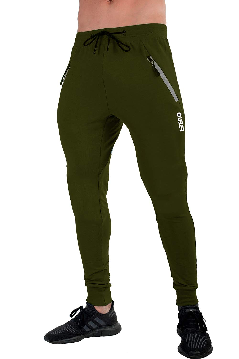 Ouber Men's Slim Fit Joggers Workout Sports Fleece Sweatpants for Gym Training (S, ArmyGreen)