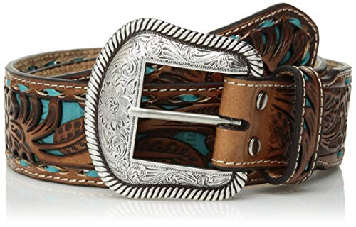 Nocona Belt Co. Unisex-Adult's Nocona Tirquoise Buck Inlay Taper Belt, blue, 42