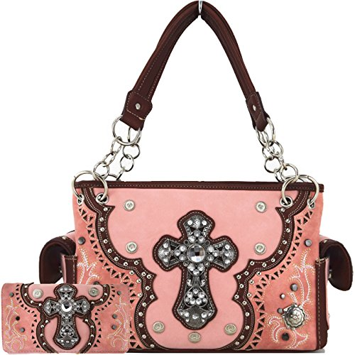 Western Style Rhinestone Cross Stud Laser Cut Country Purse Women Handbag Shoulder Bag Wallet Set Coral