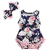 Baywell Baby Girl Romper Outfit Set, Sleeveless Floral Printed Bow-Knot Headband 2 PCs (S/0-3M/66, Pink1)