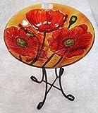 18%22 Red Poppie Glass Bowl%2Fbirdbath a