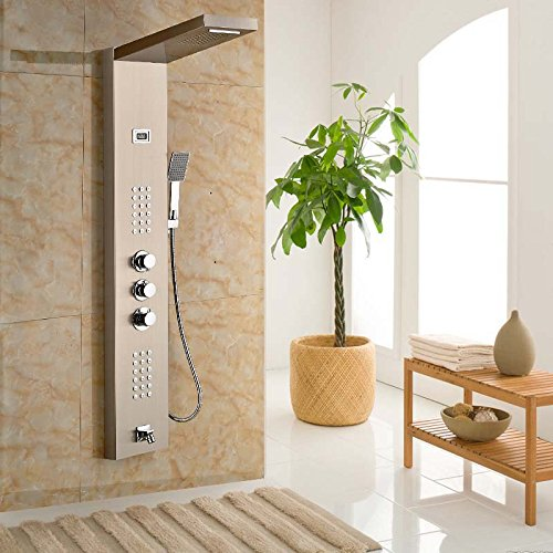 Senlesen nichel spazzolato con sistema di massaggio corpo termostatico colonna doccia pannello doccia Tre maniglie