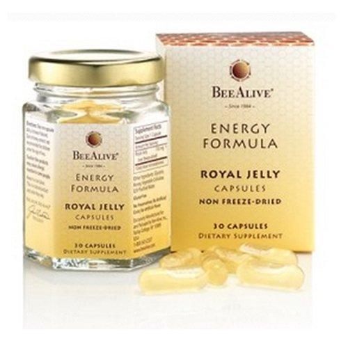 BeeAlive - Fresh Royal Jelly Capsules Energy Formula - Non Freeze Dried Gluten Free & Vegetarian - 150mg 30 Vegetarian Capsules