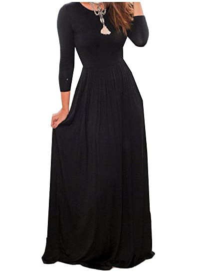 Zimaes Women Pure Color Slim Fit Long Sleeve Maxi Long Dress At