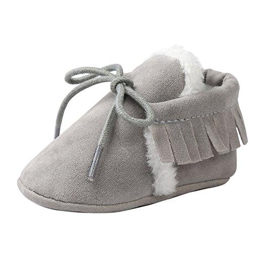 (Comfy Baby Boys Girls Winter Fur Suede Prewalker Shoes Child Soft Sole Crib Boot Grey)