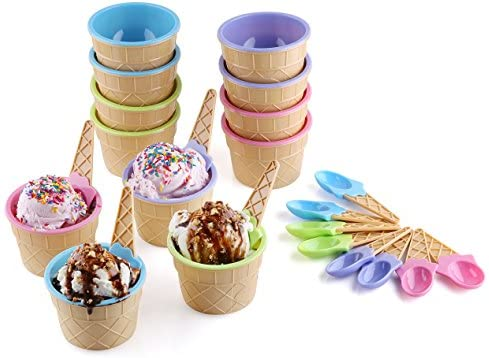 Amazon Com Greenco Set Of 12 Vibrant Colors Ice Cream Bowls And Spoons Kitchen Dining
