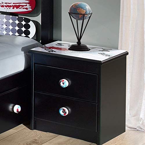 - Powell Kickflip Black Wood 2-Drawer Nightstand