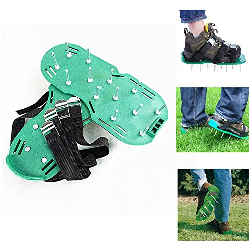 Lawn Aerator Shoes with Metal Buckles and 3 Straps, Heavy Duty Spikes Aerator Sandals for Aerating Your Lawn or Yard-Universal Size that Fits All by Edance