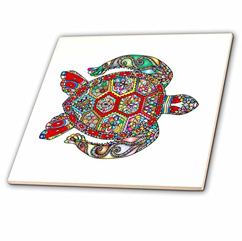 - 3dRose All Things Mexican - Image of Vividly Colored Sea Turtle - 8 Inch Ceramic Tile (ct_279966_3)