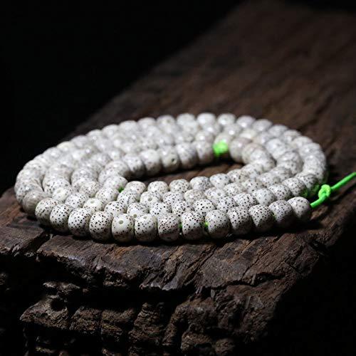 Calvas Tibetan Buddhism 114 White Star&Moon Bodhi Seed Prayer Loose Bead Mala - (Item Diameter: Apple 8x10mm)