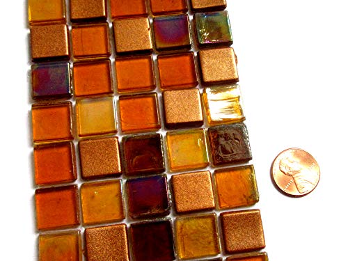 50 Mixed Warm Colors Square Glass Mosaic Tiles, 15 mm Mosaic Pieces from Shining Eye Arts