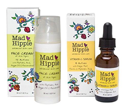 Mad Hippie Face Cream and Vitamin C Serum Bundle With Acai, Vitamin C and Argan Oil, 1.02 fl. oz. Each