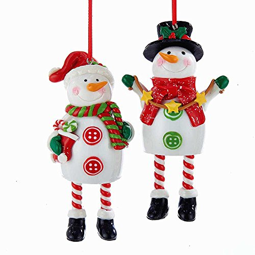 Kurt Adler YAMH9564 Snowman Ornament Set of 2
