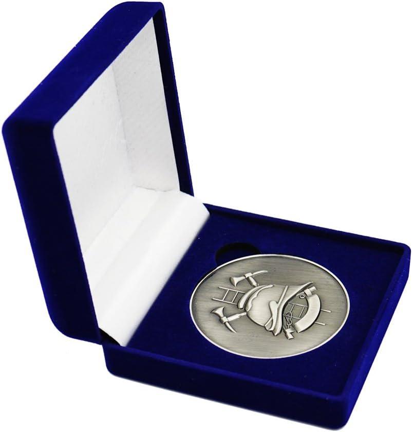 Feuerwehr Silber Medaille Motiv gekreuzte /Äxte Feuerwehrhelm und Leiter im edlen Samt-Etui sehr edle Optik Geschenk Ehrungen Bef/örderungen Sammlerst/ück M/ünze