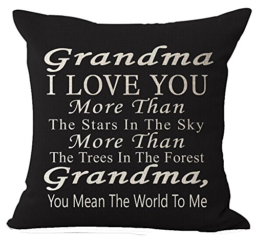 Best Gift Grandma I Love You More Than The Stars In The Sky You Mean The World To Me Blessing Cotton Linen Throw Pillow Case Cushion Cover Home Office Decorative -