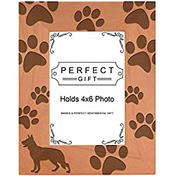 Dog Lover Gift German Shepherd Paw Prints Natural Wood Engraved 4x6 Portrait Picture Frame Wood