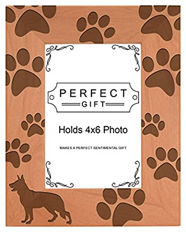 Dog Lover Gift German Shepherd Paw Prints Natural Wood Engraved 4x6 Portrait Picture Frame Wood - Picture Paw Print