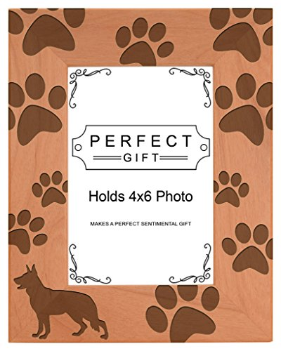 Dog Lover Gift German Shepherd Paw Prints Natural Wood Engraved 4x6 Portrait Picture Frame Wood (Shepherd Dog Picture Frame)