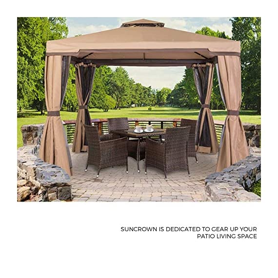 SUNCROWN Outdoor Furniture All-Weather Square Wicker Dining Table and Chairs (5-Piece Set) Washable Cushions, Patio, Backyard, Porch, Garden, Poolside, Tempered Glass Tabletop, Modern Design - COMPLETE DINING SET – Modern, stylized outdoor furniture, this wicker square dining table set comes with a tempered glass top table and four matching wicker chairs for relaxation. Cushion covers can be removed with a quick zip and are washable! ALL-WEATHER WICKER – Great for indoor and outdoor use, our wicker patio set is durable enough to withstand rain and wind for year-round use. BEAUTIFUL GLASS TABLETOP – The checkered wicker dining table also features a gorgeous black glass top that perfectly highlights your patio or poolside décor. - patio-furniture, dining-sets-patio-funiture, patio - 51KWjYRe86L. SS570  -