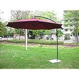 Invezo Impression Side Pole Metal Garden Patio Umbrella with Base, Maroon