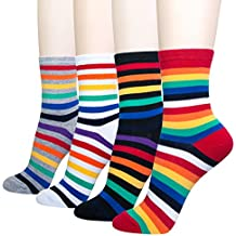 KONY Women's Cotton Novelty Dress Crew Socks – Famous Artist Painting, Stripe, Argyle Patterned Fashion Socks