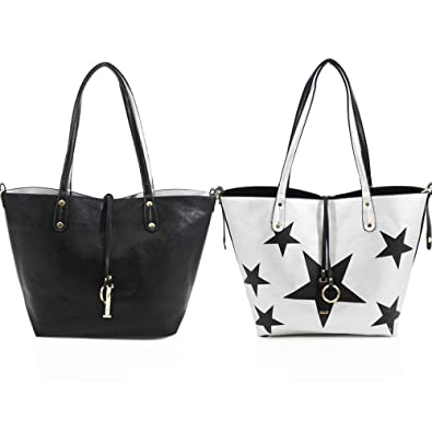 03081f391 Metallic stars design reversible interior Tote bag with Detachable &  adjustable crossbody strap and Additional zipped
