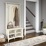 Entryway Hall Tree, Coat Rack,With Storage Bench In Antique White