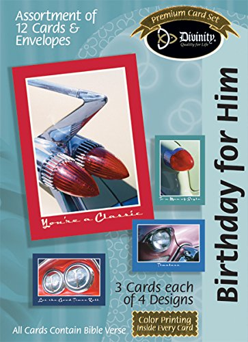 Divinity Boutique Greeting Card Assortment: Birthday for Him, Cars (21206N)