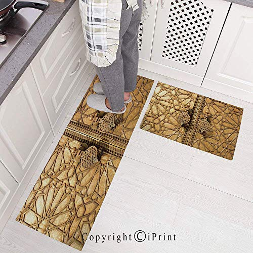 Kitchen Rugs Set 2 Piece Non-Slip Kitchen Mats and Rugs Runner Set,Main Gates of Royal Palace in Marrakesh Morocco Travel Tourist Attraction Rubber Backing Floor Rug Doormat Machine Washable 15.7