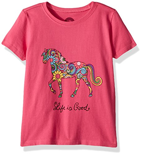 (Life if Good Toddler/Kids Crusher Graphic T-Shirts Collection,Horse,Fiesta Pink,2T)