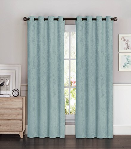Bella Luna Faux Suede Room Darkening Extra Wide 108 x 96 in. Grommet Curtain Panel Pair, Aqua