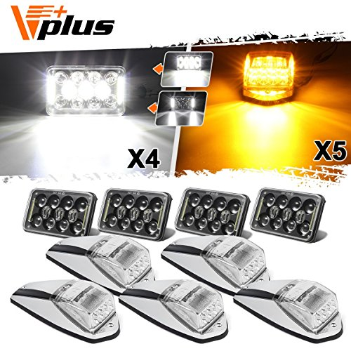 (4PCS 4x6 inch LED Headlight Sealed Dual Beam White Rectangular H4651 H4666 H4656 H6545 Smoke Lens + 5x Cab Marker Clearance Roof Light 31 LED Amber/Yellow Clear Lens for Peterbilt Kenworth Heavy Duty)
