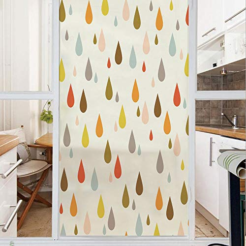 (Decorative Window Film,No Glue Frosted Privacy Film,Stained Glass Door Film,Retro Style Colorful Big and Small Water Drops Rain Inspired Lovely Cute Pattern,for Home & Office,23.6In. by 78.7In)