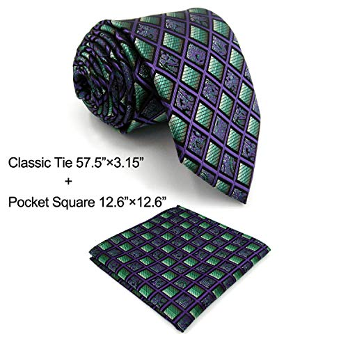 (Shlax&Wing Checkered Mens Ties Purple Green Neckties for Men)