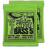 2 Sets of Ernie Ball Nickel RoundWound Regular Slinky 5-String Bass Strings (45-130)