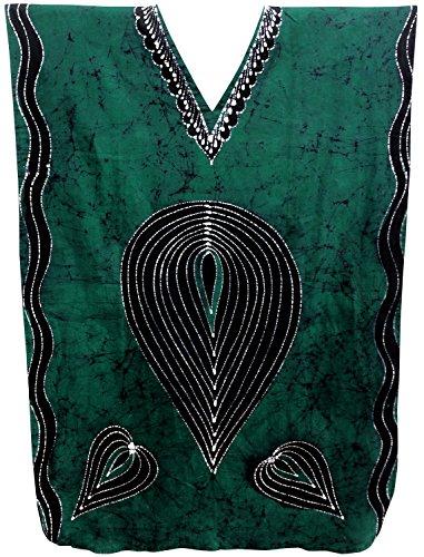 Wear Caftan (La Leela Hand BatikWomen's Cotton Plus Cover up Lounge Sleep Night Wear Caftan Long Dress Green)