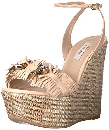 Casadei Women's Fringe Chain Wedge Sandal, Cipria Gold, 39 EU/9 M US