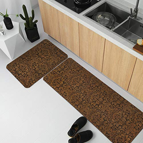 MAYSHINE Kitchen Rugs Sets and Mats Comfort Non-Slip Door mat Natural Rubber Backed - 2 Set 17.5 X 27.5 Inches 17.5 x 55 Inches, Brown (Kitchen Rug Mat)