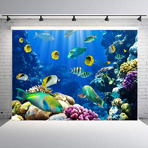 Beautiful Coral Reef World Photo Studio Backdrop 10x7FT Colorful Underwater Fishes Light Props Wall Photography Background EY008