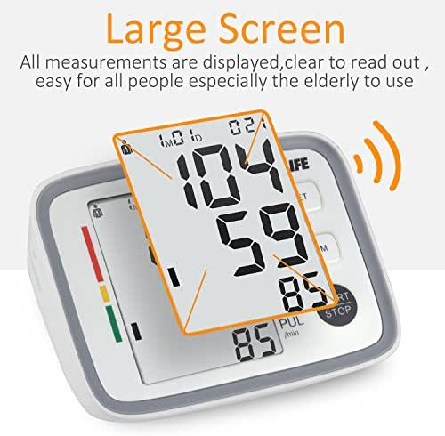 WARMLIFE Accurate Automatic Upper Arm Blood Pressure Monitor Digital BP Machine Pulse Rate Monitoring Meter with 8.8-14.1in Cuff Kit,180 Records Two Users,Speaker- FDA Approved (Classical White)