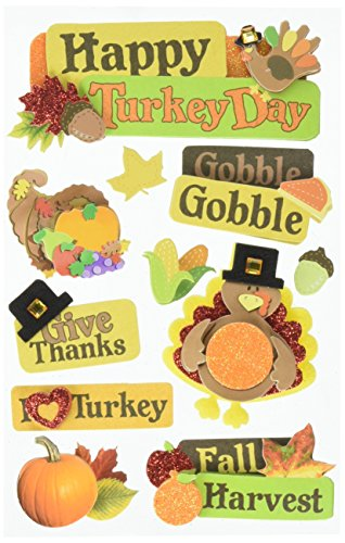 Paper House Productions STDM-0244E 3D Cardstock Stickers, Happy Turkey Day (3-Pack)
