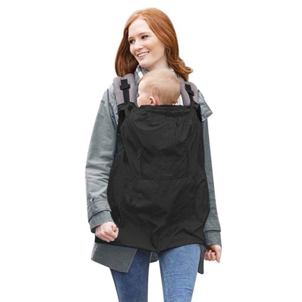 Ninpi Baby Carrier Cover Windproof Rainproof for All Seasons Black 1-Pack
